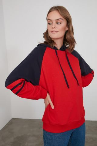Trendyol Red Color Block Boyfriend Hooded Knitted Sweatshirt dámské XS