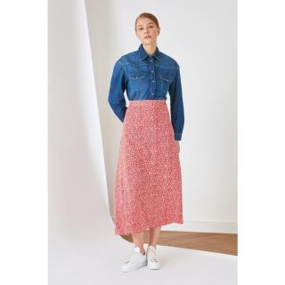 Trendyol Red Floral Patterned Viscose Skirt dámské 36