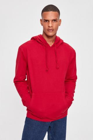 Trendyol Red Mens Hooded Kangaroo Pocket New Sweatshirt With Long Sleeve pánské S