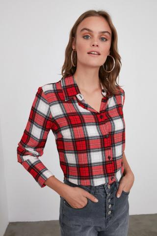 Trendyol Red Plaid Jacket Shirt dámské 34