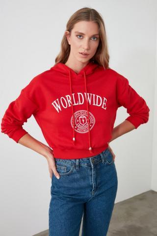 Trendyol Red Printed Hooded Crop Knitted Sweatshirt dámské XS