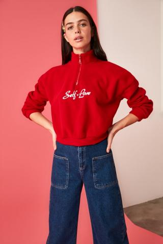 Trendyol Red Printed Sheer Collar Knitted Sweatshirt dámské XS