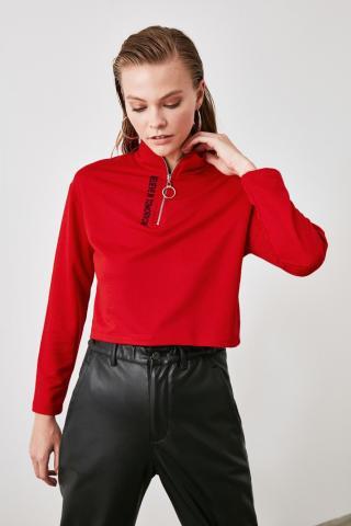 Trendyol Red Printed Zipper Crop Knitted Sweatshirt dámské XS