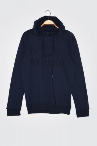 Trendyol Regular Fit Sweatshirt with Navy Mens Embroidered Hood pánské S