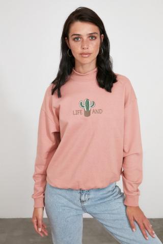 Trendyol Rose Dry Embroidered Knitted Sweatshirt dámské S