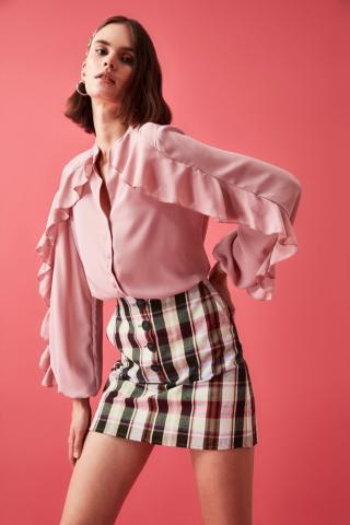 Trendyol Rose Dry Frilled Shirt dámské 34