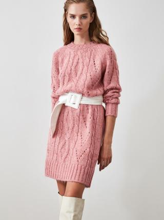 Trendyol Rose Dry Knitted Detailed Knitwear Dress dámské růžová S