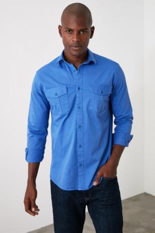 Trendyol Saks Mens Shirt pánské Royal Blue S