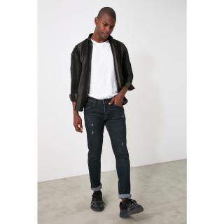Trendyol Slim Fit Jeans with Black Male Destroy 34