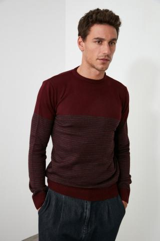 Trendyol Slim Fit KnitWear Sweater With Burgundy Mens Bicycle Collar Panel pánské S
