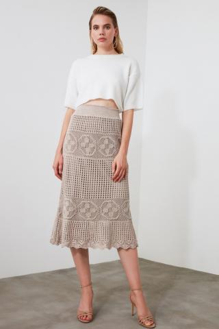 Trendyol Stone Mesh Detailed Knitwear Skirt dámské S