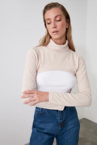 Trendyol Stone Throat Crop Knitted Blouse dámské XS