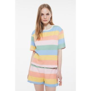 Trendyol Striped Knitted Pajamas Set dámské Very colorful S