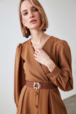 Trendyol Taba Leather Looking Buckle Belt dámské Tan S