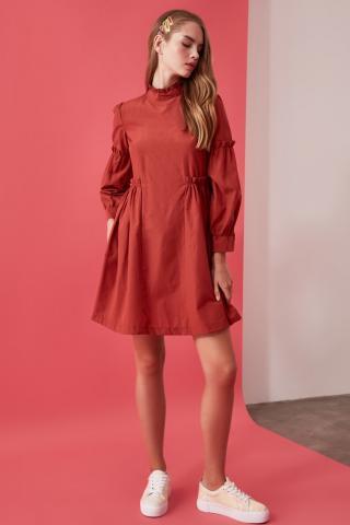 Trendyol Tandruff Ruffle Detailed Dress dámské TİLE 34