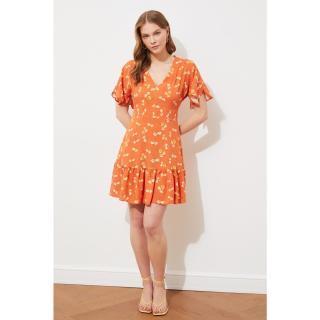 Trendyol Tile Flywheel V Neck Dress dámské TİLE 36
