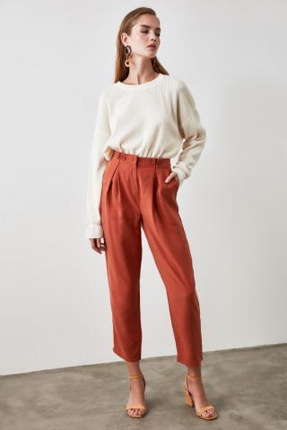 Trendyol Tint Flat Cut Pants dámské TİLE 34