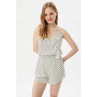 Trendyol White Heart Patterned Woven Overalls dámské 42