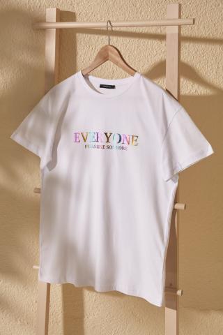 Trendyol White Leaf Printed Boyfriend Mold Knitted T-Shirt dámské M
