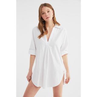 Trendyol White Linen Look Beach Dress dámské 34