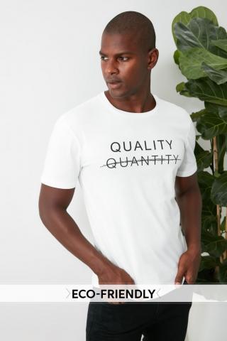Trendyol White Male 100% Organic Cotton Slim Fit T-Shirt S