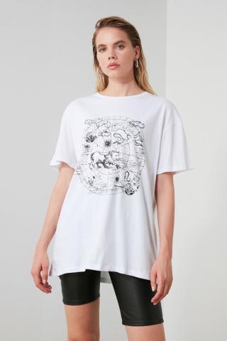 Trendyol White Printed Boyfriend Knitted T-Shirt dámské XS