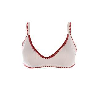 Trendyol White Stripe Detailed Bikini Top dámské 34