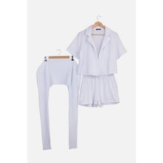 Trendyol White Towel Fabric Bag Accessory Bottom-Top Set dámské XS