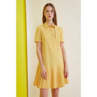 Trendyol Yellow Button Detailed Pleated Dress dámské 34