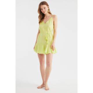 Trendyol Yellow Lacing Detailed Voile Beach Dress dámské 34