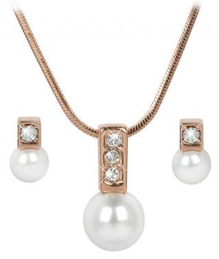 Troli Bronzová sada náhrdelníku a náušnic Pearl Caorle White dámské