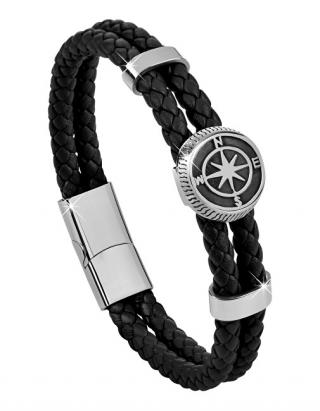 Troli Černý kožený náramek s kompasovou růžicí pánské