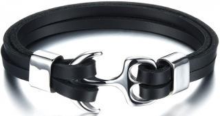 Troli Černý kožený náramek s ocelovou kotvou Leather pánské