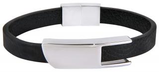 Troli Černý kožený náramek s ocelovou sponou Leather pánské