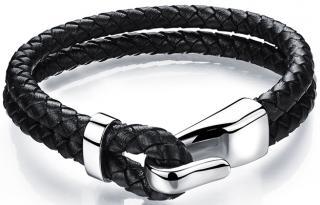 Troli Černý kožený náramek s ocelovým hákem Leather pánské