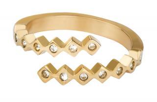 Troli Designový pozlacený prsten se zirkony 58 mm dámské