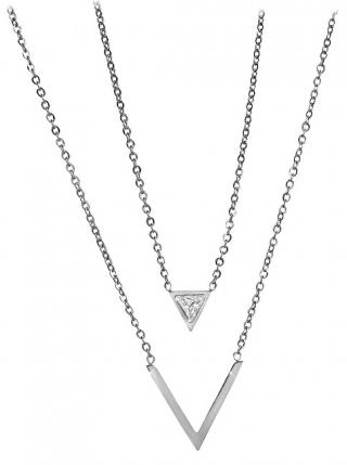 Troli Dvojitý ocelový náhrdelník s trojúhelníky