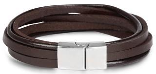 Troli Hnědý kožený náramek Leather pánské