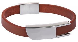 Troli Hnědý kožený náramek s ocelovou sponou Leather pánské