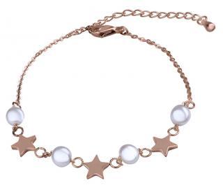 Troli Jemný pozlacený náramek s perličkami dámské