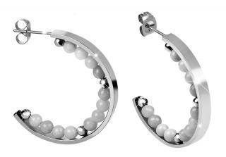 Troli Ocelové náušnice kruhy s perličkami dámské