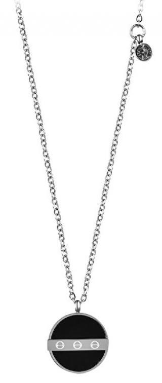 Troli Ocelový náhrdelník s černým přívěskem