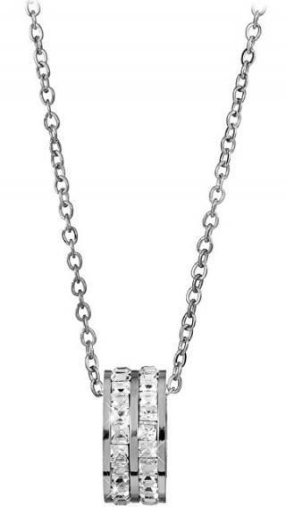 Troli Ocelový náhrdelník s kruhovým třpytivým přívěskem