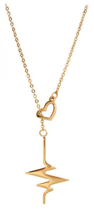 Troli Originální pozlacený náhrdelník Srdeční tep