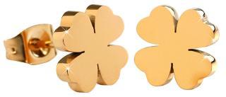 Troli Pozlacené ocelové náušnice Čtyřlístky KE-001 dámské