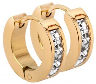 Troli Pozlacené ocelové náušnice kroužky s krystaly dámské