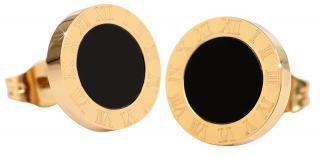 Troli Pozlacené ocelové náušnice s černým středem KE-015 dámské
