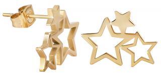 Troli Pozlacené ocelové náušnice se třemi hvězdičkami dámské