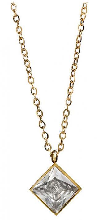Troli Pozlacený ocelový náhrdelník s čtvercovým přívěskem