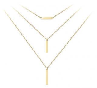 Troli Pozlacený trojitý ocelový náhrdelník